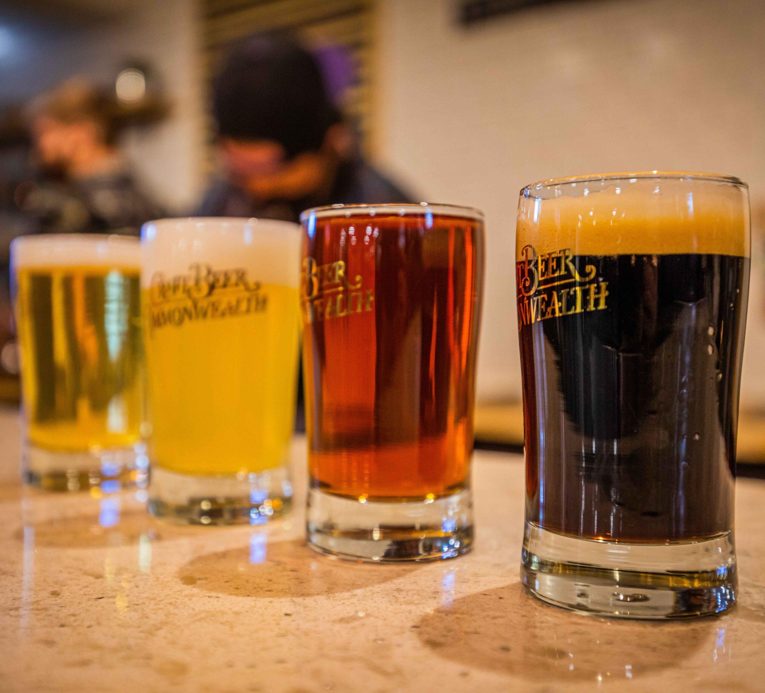 Flight of beer from Craft Beer Commonwealth